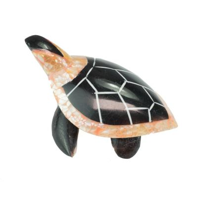 Statuette Turtle - black and pink