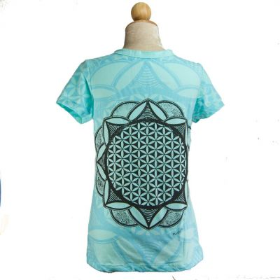 Women's t-shirt with short sleeves Mirror Flower of Life Blue