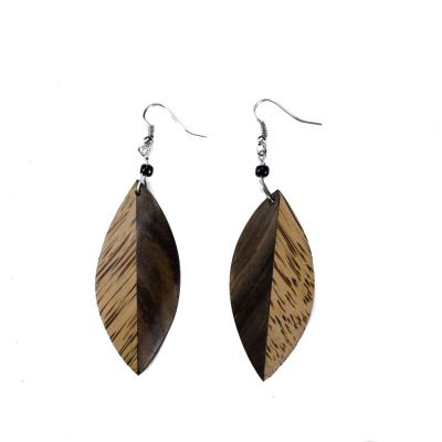 Earrings Wooden leaves 2
