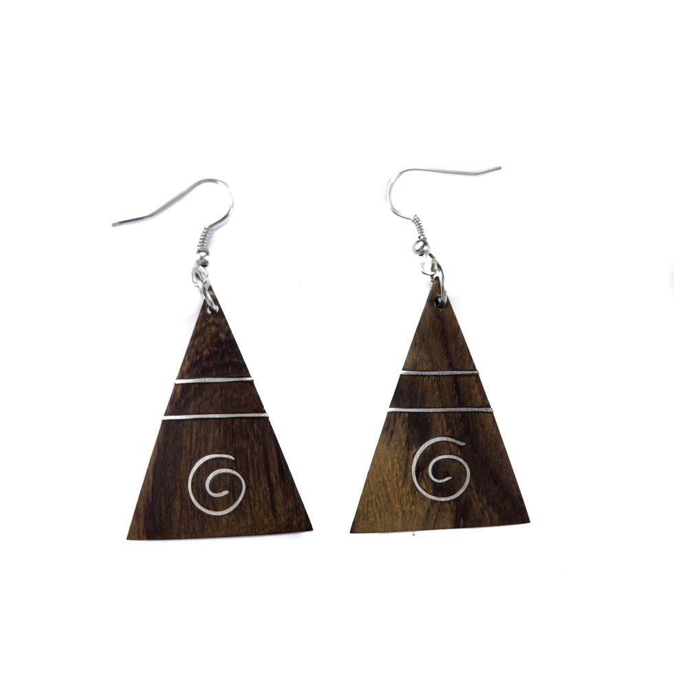 Steel decorated wooden earrings Pyramid Indonesia