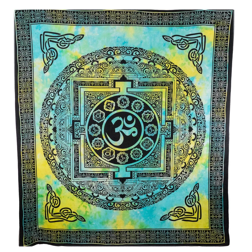 Cotton bed cover Om and chakras India