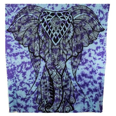 Cotton bed cover Big Elephant - purple India