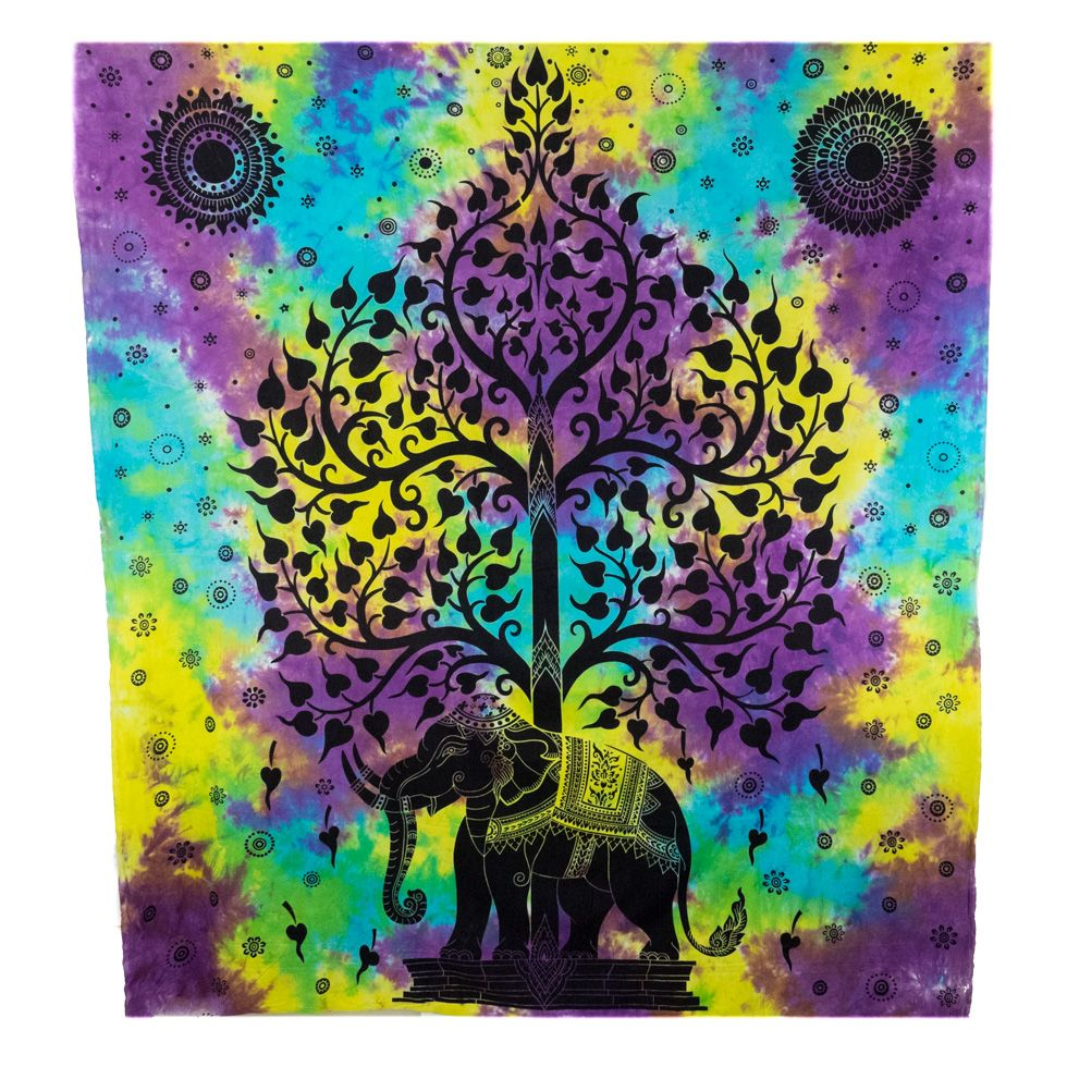 Cotton bed cover Majestic Elephant India