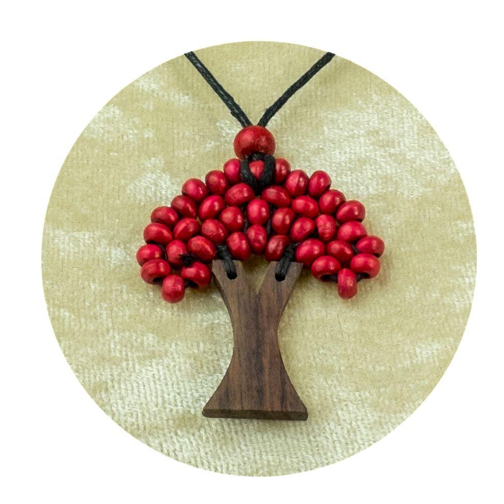 Wooden Pendant Tree - burgundy