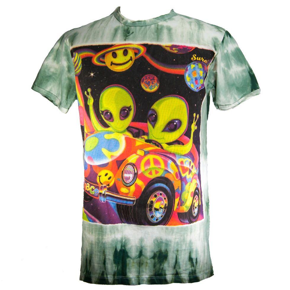 Men's t-shirt Sure Hippie Aliens Green