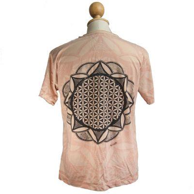 Mirror t-shirt Flower of Life Beige