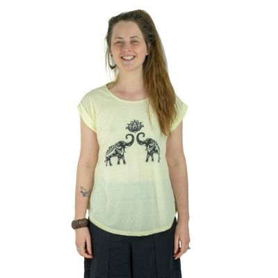 T-shirt Darika Spiritual Elephants Yellow
