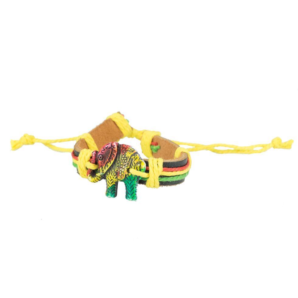 Leather bracelet Rasta Elephant