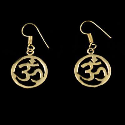 Brass earrings Om in a circle