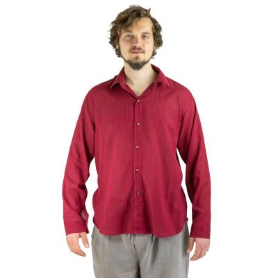 Shirt Tombol Burgundy