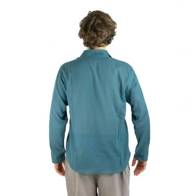 Men's shirt with long sleeves Tombol Teal Blue Thailand
