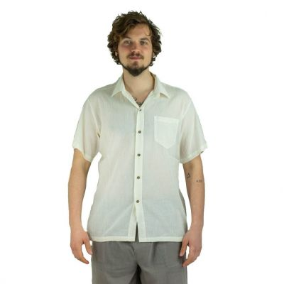 Men's shirt with short sleeves Jujur Cream