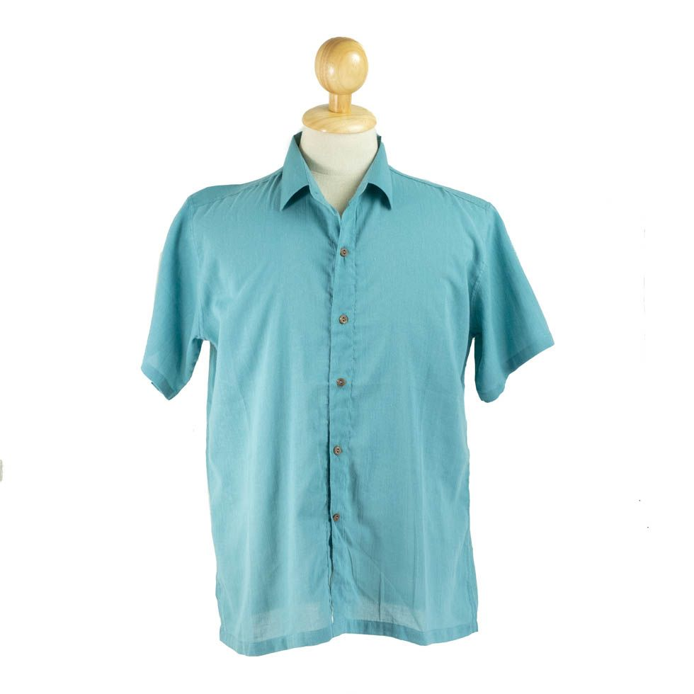 Men's shirt with short sleeves Jujur Teal Blue