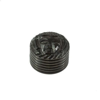 Carved grinder Buddha - small India