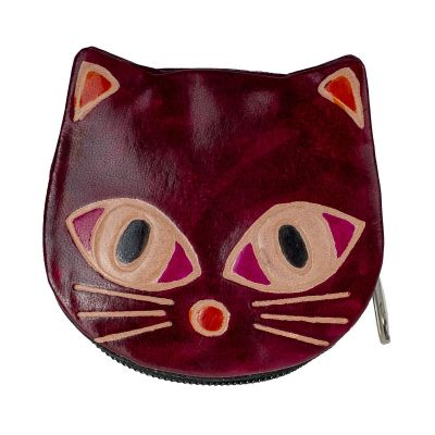 Leather wallet Kitty - burgundy