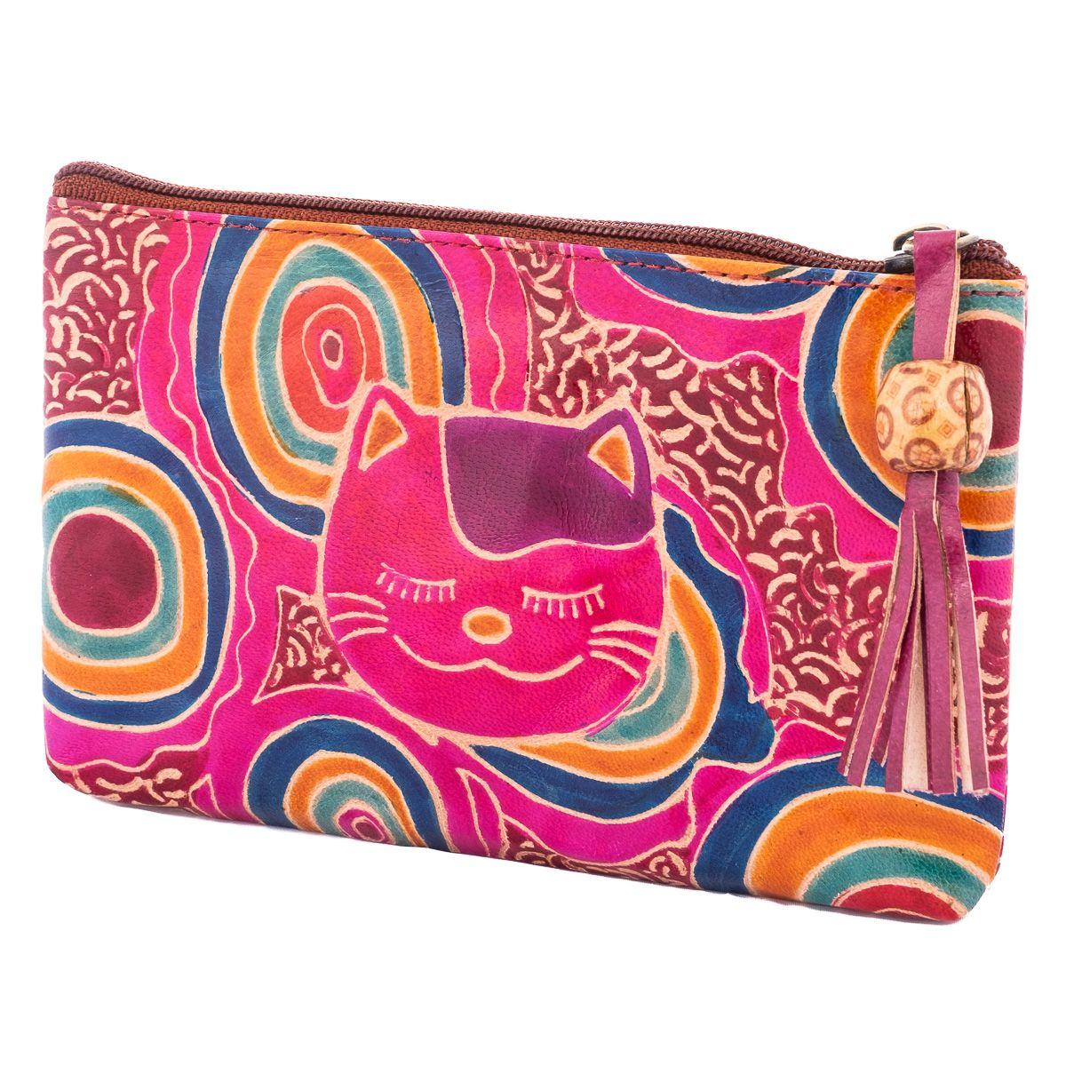 Leather wallet Cat - purple