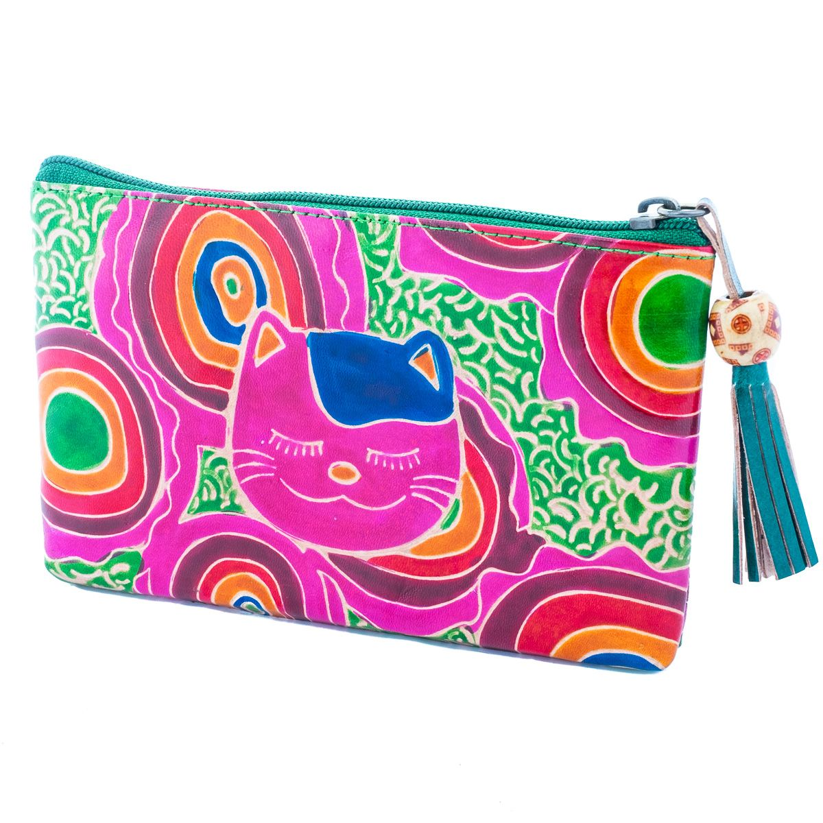 Leather wallet Cat - green