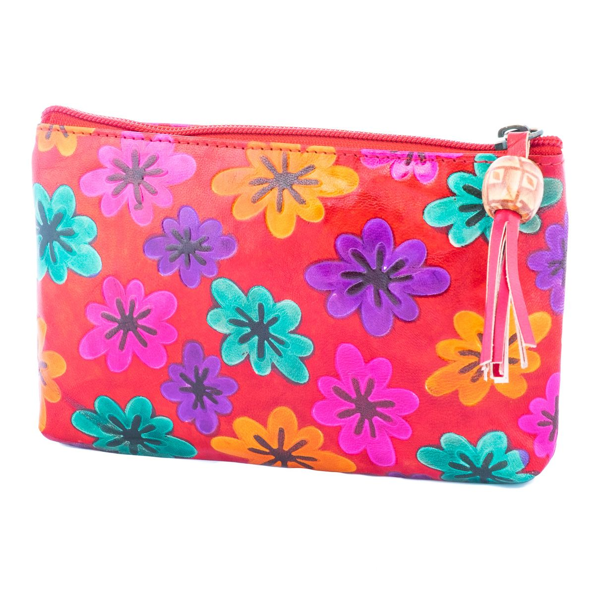 Leather wallet Flowers - red