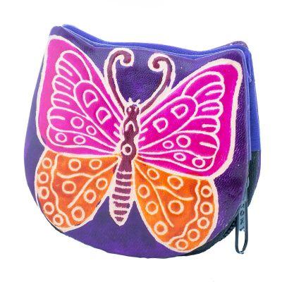 Leather wallet Butterfly - purple