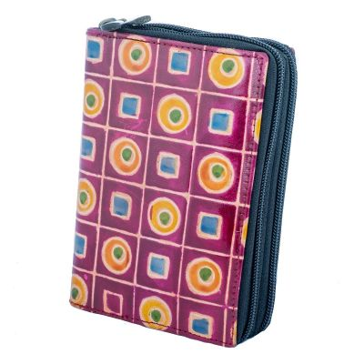 Leather wallet Samira - purple