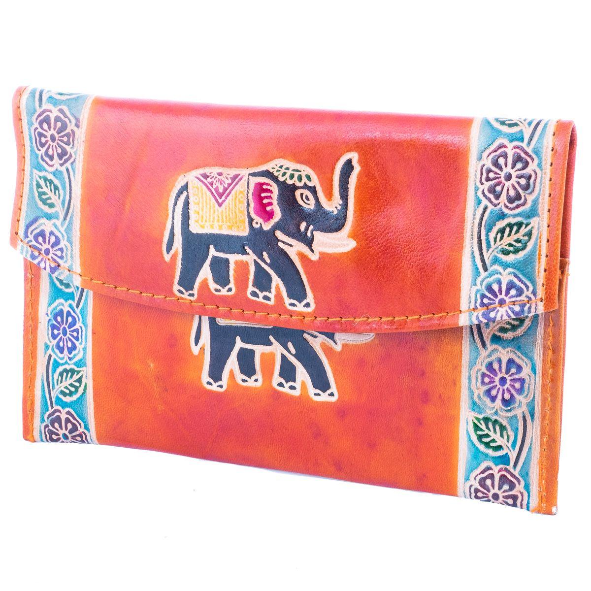 Leather wallet Elephant 3in1 - orange