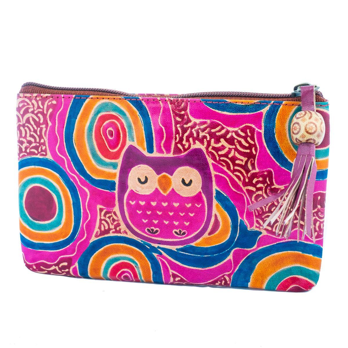 Leather wallet Owl - purple