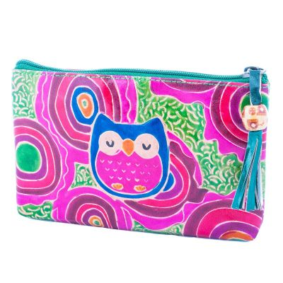 Leather wallet Owl - green
