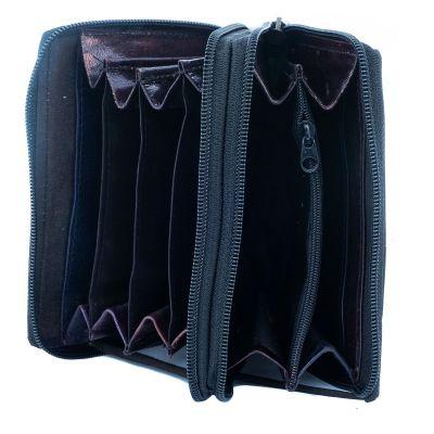 Leather wallet Yauvani - black