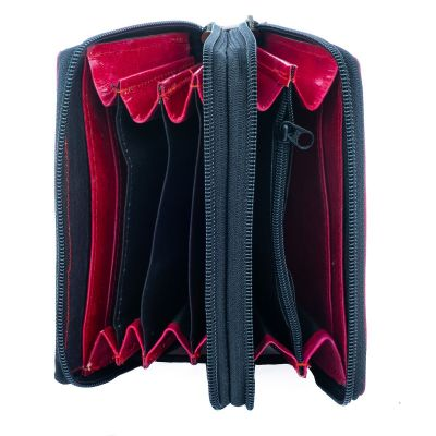 Leather wallet Yauvani - red