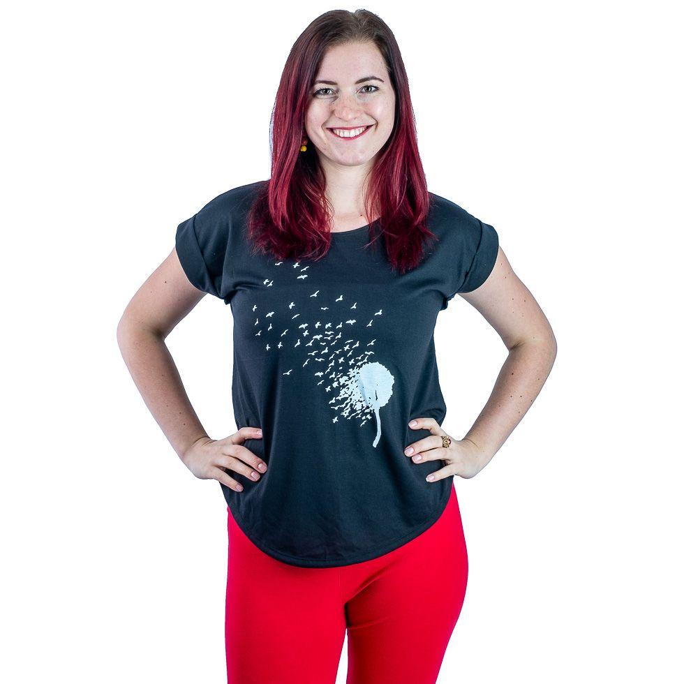 Short sleeve lady T-shirt Darika Bird Dandelion