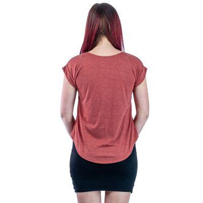 Short sleeve lady T-shirt Darika Owl Family Burgundy
