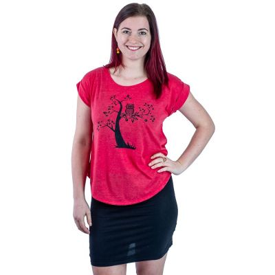 T-shirt Darika Solitary Owl Red