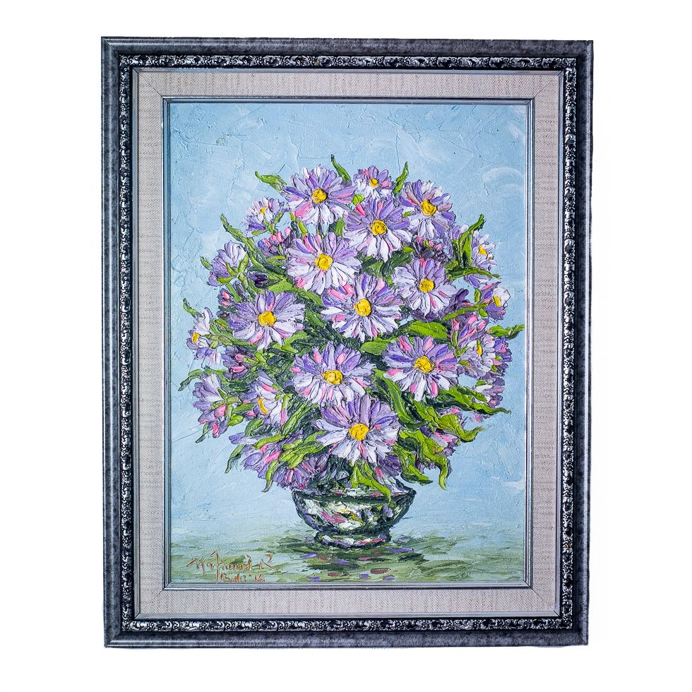 Painting Vase of Purple Flowers