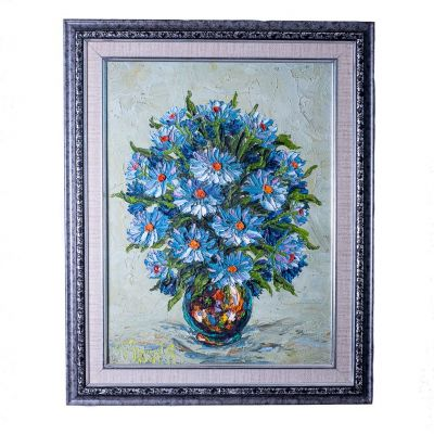 Painting Vase of Blue Flowers