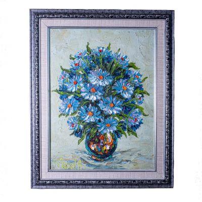 Painting Vase of Blue Flowers
