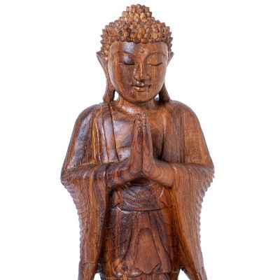 Carved wooden statue of Standing Buddha