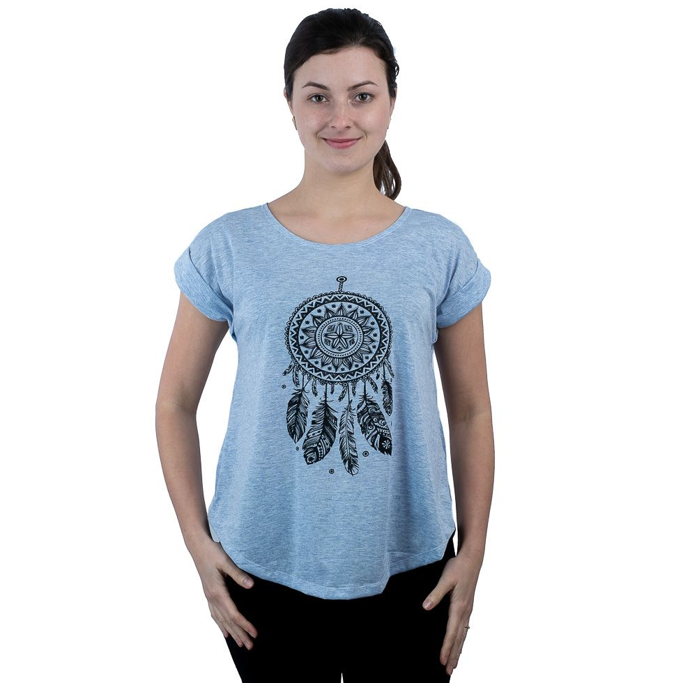 Short sleeve lady T-shirt Darika Dream Web Bluish
