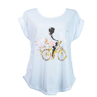 T-shirt Darika Fragrant Bike White