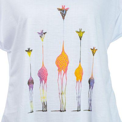 Short sleeve lady T-shirt Darika Giraffe Family Multicolour