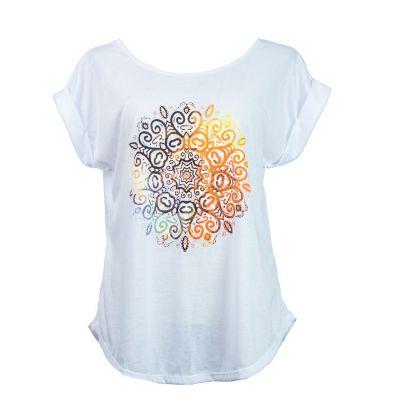 Women's t-shirt with short sleeves Darika Mandala White | UNISIZE