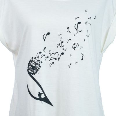 Short sleeve lady T-shirt Darika Music Dandelion White