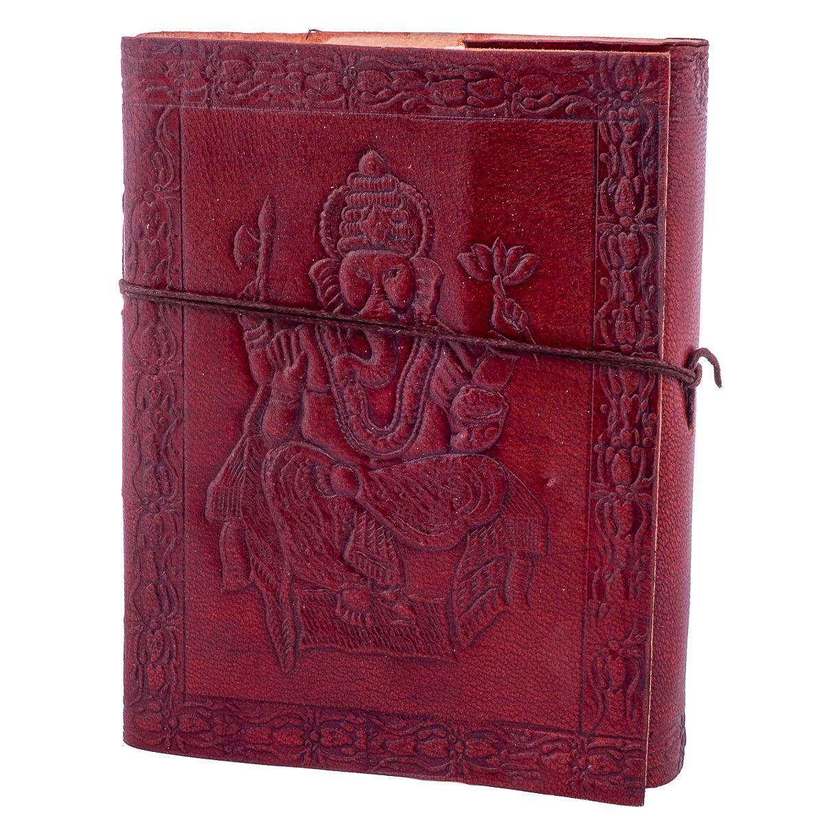 Leather notebook Ganesh India