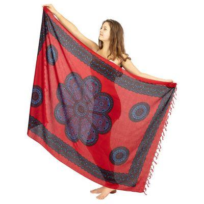 Sarong Flower Mandala red