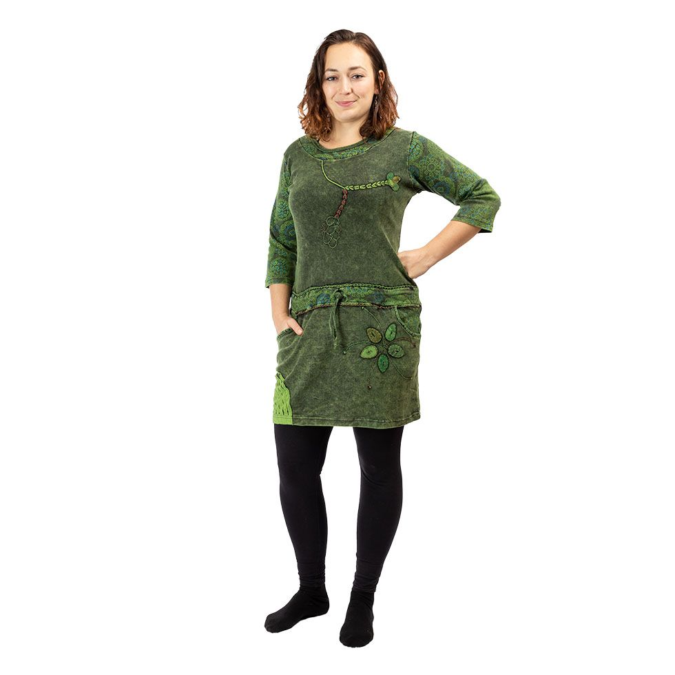 Ethnic cotton dress Dori Hijau Nepal