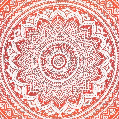 Cotton bed cover Mandala – red India