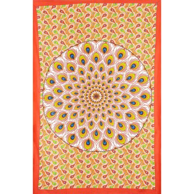 Bed cover Peacock Mandala – red-orange
