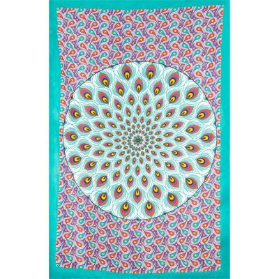 Bed cover Peacock Mandala – green-purple