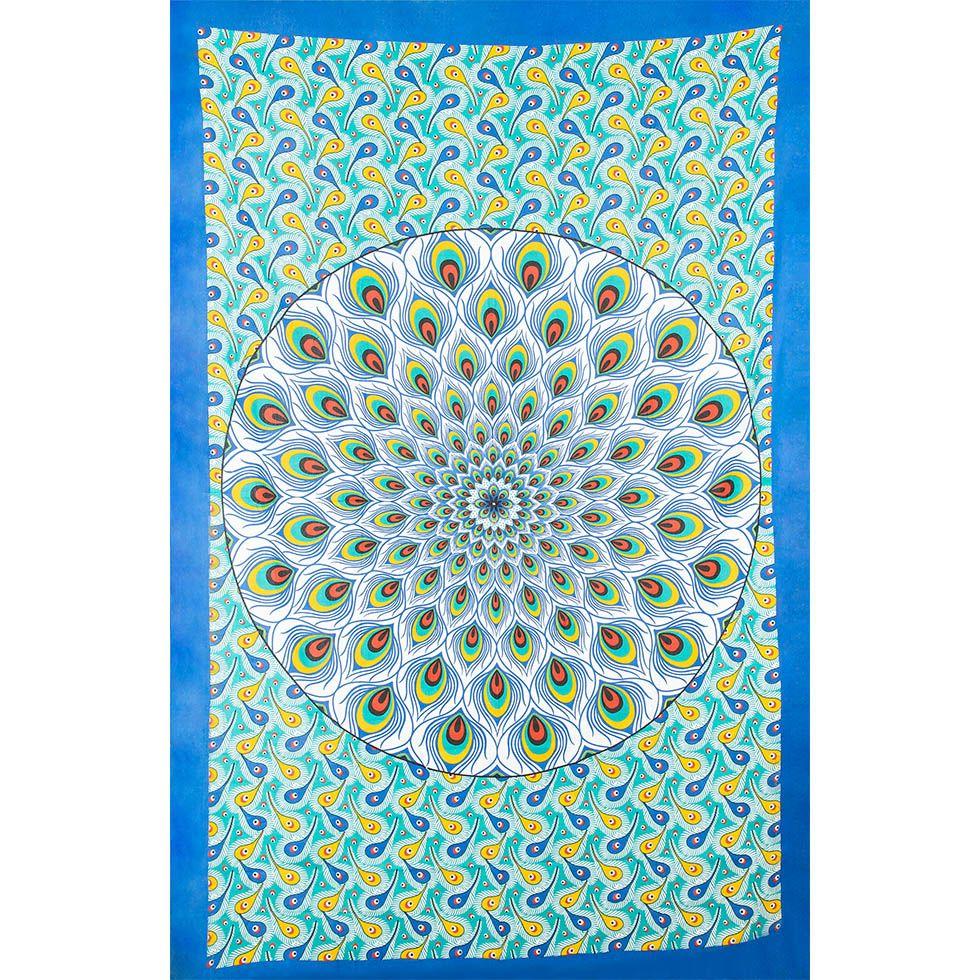 Cotton bed cover Peacock Mandala – green-blue India