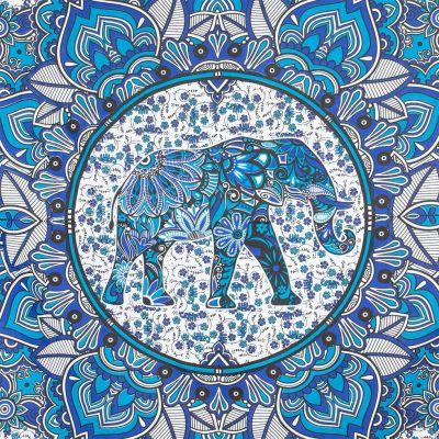 Cotton bed cover  Elephant Mandala – blue