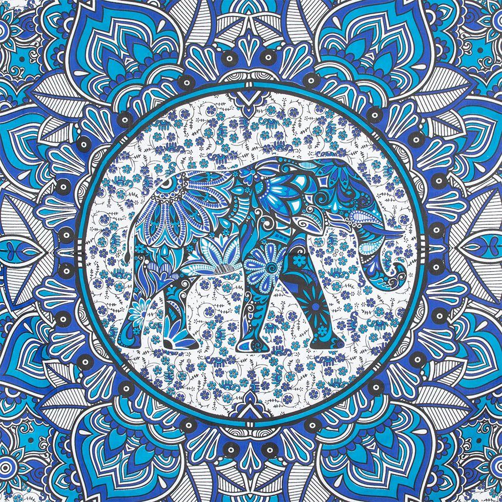 Cotton bed cover Elephant Mandala – blue India